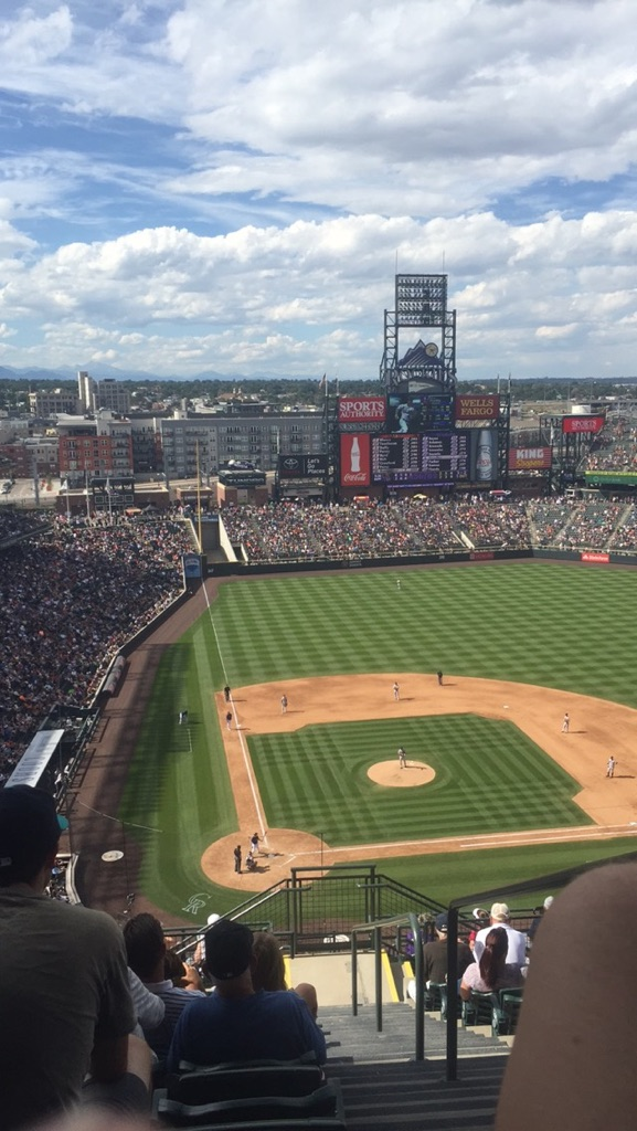 View from the mile high seats in Denver, Colorado at a Colorado Rockies baseball game